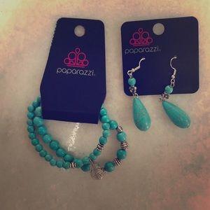 Paparazzi bracelet and earrings set